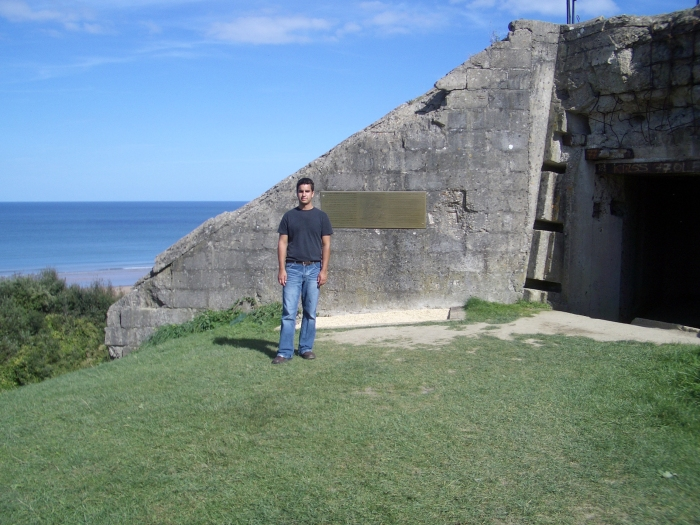 Billy in Normandy Beach bunker.jpg