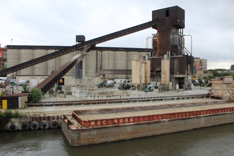 A Concrete Plant with Empty Gravel Barge(Not on the island)